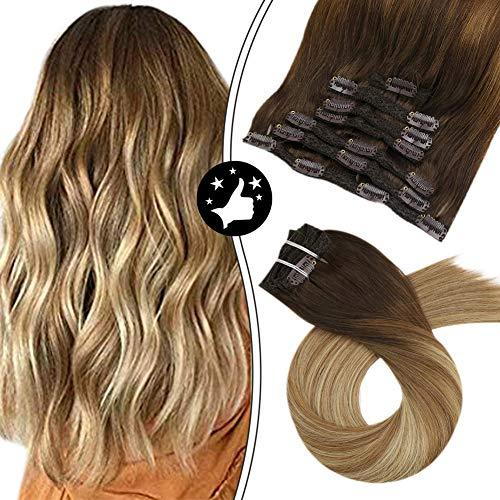 Moresoo 16 Zoll Ombre Hair Extensions Balayage Clip in Mittel Braun/#4 zu #6 Highlights mit Blond #24 Clip in Extensions Echthaar Günstig Haarverlängerung Remy Echthaar 100g/7pcs