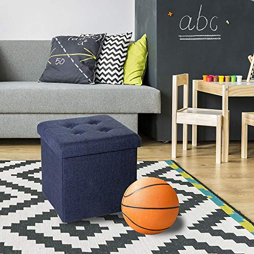 Seville Classics Foldable Storage Ottoman Footrest Toy Box Coffee Table Chest Trunk Seat Stool 1 Pack Midnight Blue 0017641003529 Buy New And Used Furnitures Books And More Bigwords Com