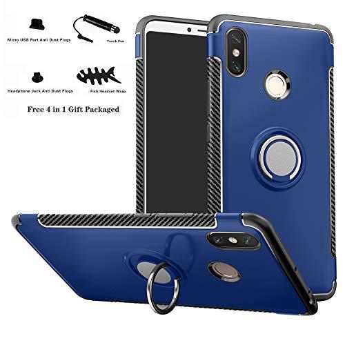 Labanema Xiaomi MAX 3 Funda, 360 Rotating Ring Grip Stand Holder Capa TPU + PC Shockproof Anti-rasguños teléfono Caso protección Cáscara Cover para Xiaomi Mi MAX 3 - Azul