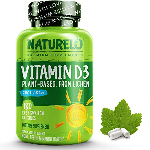 NATURELO Vitamin D - 2500 IU - Plant Based - from Lichen - Best Natural D3 Supplement for Immune System, Bone Support, Joint Health - Whole Food - Vegan - Non - GMO - Gluten Free - 180 Capsules
