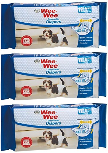 (3 Pack) Wee-Wee Products Disposable Dog Diapers (X-Small / 12 ct. Per Pack)
