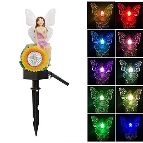 REWD Lawn Lamp Solar Energy LED White and Colorful Light Beautiful Flower Fairy Garden Light AAA 300mah Battery(Built-In) Garden Solar Ornaments (Emitting Color : Sunflower)