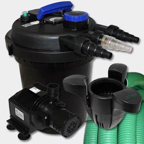 WilTec Kit de Filtration à Pression Bassin 6000l Stérilisateur UVC 11W Pompe 25m Tuyau Ecumeur 30