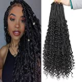 6 Packs Goddess Box Braids Crochet Hair 20 Inch Crochet Box Braids with Curly Ends Pre-looped Synthetic Bohomian Braids Hair for Black Women 90strands (Black, 20inch)