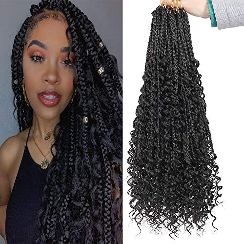 6 Packs Goddess Box Braids Crochet Hair 20 Inch Crochet Box Braids with Curly Ends Kanekalon Synthetic Braids Hair (Black)