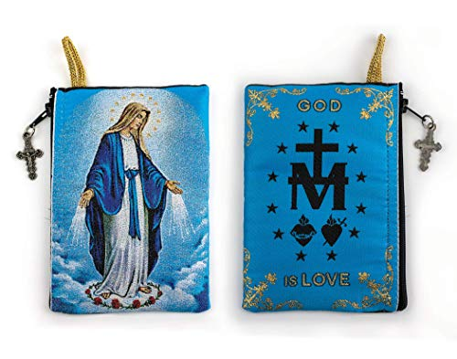 Catholic Rosary Pouch, Our Lady of Grace & Miraculous Medal Symbol, 4' x 6' Jewelry & Coin Purse with Cross, Small Woven Tapestry Icon Bag, Bolsa de Rosario Católico para Joyería