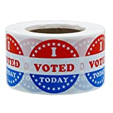 Hybsk I Voted Today with Red, White, and Blue Circle Stickers 1.5 Inch Round 500 Labels Per Roll (I Voted Today)