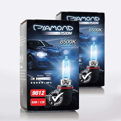 2x 9012 HIR2 12V 55W Diamond Vision Xenon Look Effekt Halogen KFZ Lampen Birnen Licht Optik Super Ultra White 8500k Abblendlicht Fernlicht Mehr Licht Kaltweiss Weißes Licht Weiß PX22D Duobox