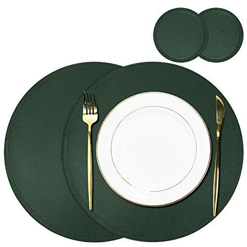 Olrla Set di tovagliette rotonde in pelle e sottobicchiere, 2 tovagliette e 2 sottobicchieri, tovagliette natalizie per cena tavola e festa (verde profondo )