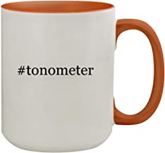 #tonometer - 15oz Hashtag Colored Inner & Handle Ceramic Coffee Mug, Orange