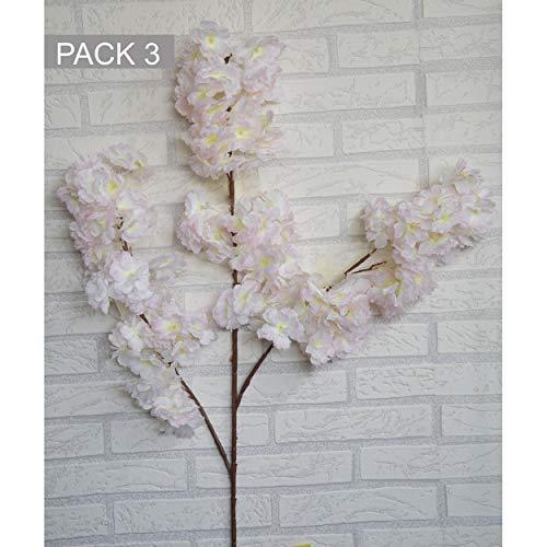 HOGAR Y MAS Flores Almendro Artificiales decoración jarrones Set de 3, Ramas Flores de Interior Decorativas 100 cm - Rosa Claro