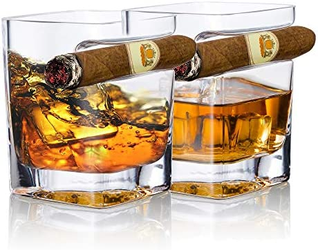 YouYah Cigar Whiskey Glasses with Cigar Holder Set of 2 Cigar Accessories Crystal Whisky Glass product image