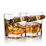 YouYah Cigar Whiskey Glasses - Set of 2 Crystal Whiskey Glass Set with Indented Cigar Rest, Premium Rocks Glass, Drinking Glassware for Cocktails, Scotch, Bourbon,Cognac, Gifts for Men(9.5 oz)