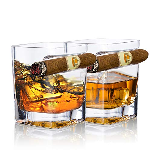 YouYah Cigar Whiskey Glasses with Cigar Holder-Set of 2,Cigar Accessories,Crystal Whisky Glass Set with Indented Cigar Rest,Premium Rocks Glass,for Cocktails,Scotch,Bourbon,Gifts for Men(9.5oz)