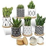 Ebingoo 6 pezzi Vaso da fiori in ceramica con foro di scarico e ciotola in bambù Vaso per piante grasse per cactus Piante succulente Vaso per fiori Mini Set geometrico per balcone(bianco e nero)