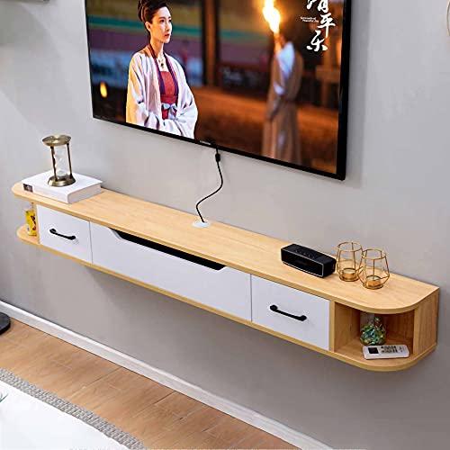 Mueble de TV Flotante, Mueble TV de Pared de Madera Maciza, Unidad de Entretenimiento Flotante, Decodificador Enrutador Rack para Sala de Estar Dormitorio/D / 150cm