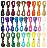 Waxed Polyester Cord 1mm Cord for Bracelet Making Jewelry Making Macrame Cord Hilo para pulseras Bracelet Thread Artisan String Waxed Ropes for Jewelry Making DIY Craft 10m Each Color 28 Colors
