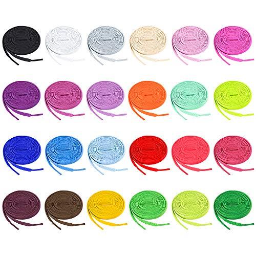 Auihiay 24 Paar 120 cm flache farbige Schnürsenkel für Sneakers Skate Schuhe Sportschuhe Stiefel (24 Farben)