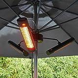 VASNER Umbrella X30 Heizstrahler Sonnenschirm Infrarot 3000 Watt 80 cm IP65 Außenbereich, Schirm Terrasse, schwenkbar Fernbedienung elektrisch schwarz