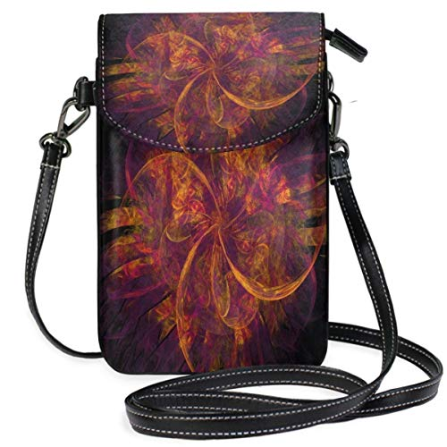 XCNGG Monedero pequeño para teléfono celular Fractals Orange Purple Design Cell Phone Purse Wallet for Women Girl Small Crossbody Purse Bags
