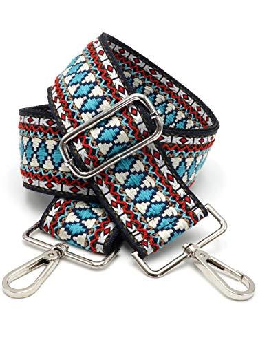 BENAVA Taschengurt Boho Muster Schulterriemen für Taschen 75-135 cm mit Karabiner in Farbe Silber   Schultergurt für Taschen mit Strickmuster als Ersatz für Taschenhenkel Taschenriemen Taschenkette