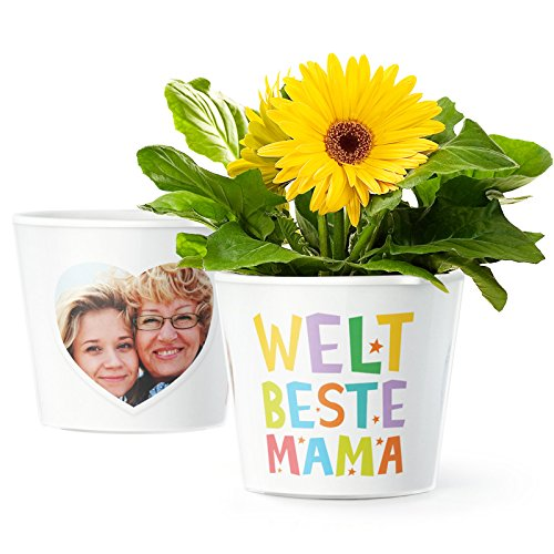 Facepot Weltbeste Mama Geschenk Blumentopf (ø16cm)   Zum Geburtstag oder Muttertag mit Herz Bilderrahmen für Zwei Fotos (10x15cm)