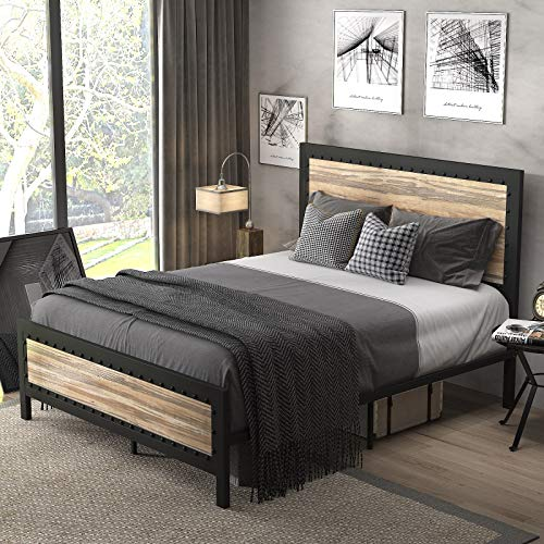 SHA CERLIN Heavy Duty Full Size Bed Frame / Metal Platform Bed with Rivet Wooden Headboard Footboard / 13 Strong Steel Slats Support / No Box Spring Needed / Mattress Foundation / Easy Assembly