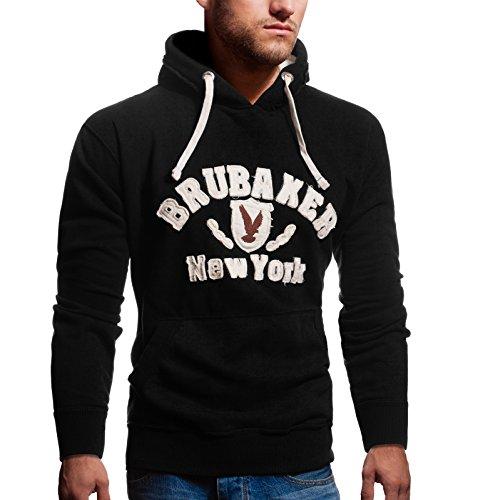 BRUBAKER N.Y. Eagle Sweat-Shirt à Capuche Homme Noir L