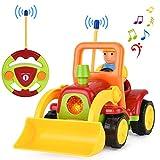 Gotechod Ferngesteuerter Bagger, Cartoon RC Radlader mit Licht Musik Greifer, Spielzeugauto mit Fernbedienung für Kleinkind Kinder ab 2 Jahren
