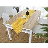 DecentGadget® - Camino de mesa hecho a mano para comedor, fiesta, decoración navideña (lino amarillo, 200 x 30 cm)