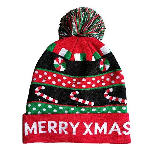 MORCHAN LED Light-up tricotée Laid Pull de Vacances de Noël Bonnet de Noël(A,Multicolor-11)