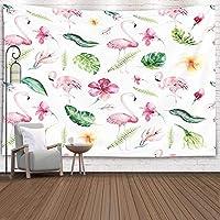 GOOESING タペストリー リビングルーム/ベッドルームのための熱帯孤立したパターンフラミンゴ水彩画の熱帯のデッサンのバラの鳥の緑のやし おしゃれなタペストリーの壁掛け装飾