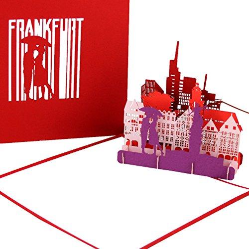 """Grußkarte """"Frankfurt - Panorama"""" - 3D Pop Up Karte der Frankfurter Skyline mit Altstadt & Dom – Städtekarte als Souvenir, Einladung & Reisegutschein zum City Trip nach Frankfurt am Main"""