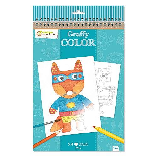 Avenue Mandarine GY017O Malblock Graffy Color, Zeichenpapier 120g, mikroperforiert, 2 x 12 Designs = 24 Blatt, geeignet für Kinder ab 3 Jahren, 1 Stück, Kuscheltiere
