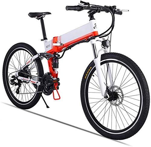 Bicicleta eléctrica de nieve, 26' bicicletas de montaña eléctrica for adultos, 500W Ebike Bicicleta con XOD aceite del freno 48V 12.8AH batería de litio extraíble 21 Speed Gear Batería de litio Play