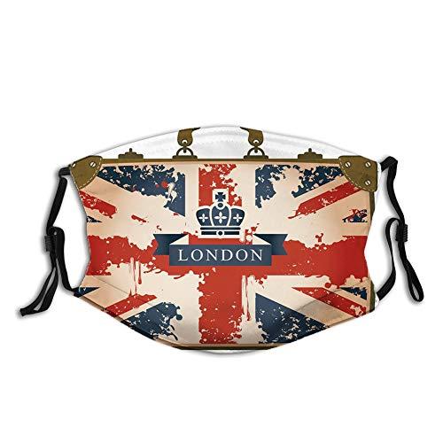 Comoda copertura antivento per il viso, valigia da viaggio vintage con bandiera britannica, nastro di Londra e immagine della corona, decorazioni facciali stampate per unisex