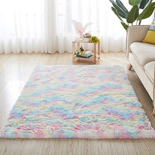 4x6 Rainbow Carpet for Living Room Soft Luxury Bedroom Fluffy Room Area Rug Shaggy Girls Comfy Mat