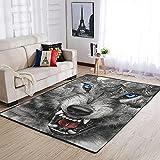 YOUYO Spark Alfombra de lobo enojado y montañas antideslizante - Hermoso piso alfombra para habitación de estudio, habitación para niños, jardín de infantes, dormitorio universitario blanco 50x80cm
