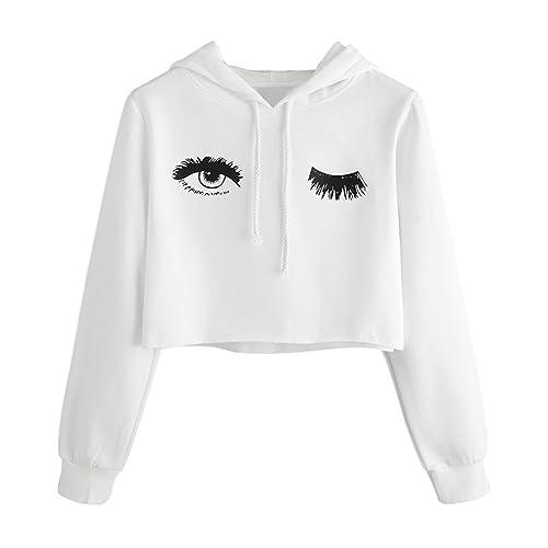 bdb639120a Weant Women Teen Girl Crop Hoodies Eye Eyelash Short Sweatshirt Hooded Long  Sleeve Pullover Sweatshirt Plus