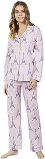 BedHead Women's Long Sleeve Classic Notch Collar Pajama Set Colette'S Eiffel Medium