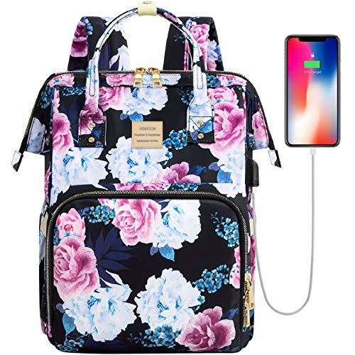 Laptop Backpack,15.6 Inch Stylish College School Backpack with USB Charging Port,Water Resistant Casual Daypack Laptop Backpack for Women/Girls/Business/Travel (Flower6)