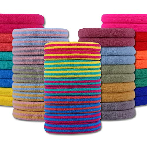 IVARYSS 50 Pcs Hair Ties for Women and Girls, Nordic Style Colorful Thick no Pull Ponytail Holders, Seamless no Crease Elastic Fabric Hair Bands, 25 Colors