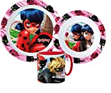 Ladybug Miraculous Set für Essen und Schule aus Kunststoff, wiederverwendbar, Ladybug Miraculous (1 Teller, 1 Tasse mit Griff, 1 Schüssel)