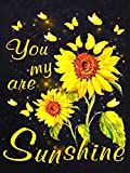 You are my Sunshine Diamond Painting Kit - pigpigboss 5D Full Drill Diamond Painting by Numbers Set Sunflower Bee Diamond Painting Dots Kit Arts Crafts Home Decor Gift for Adults, Kids (12 x 16 inches)