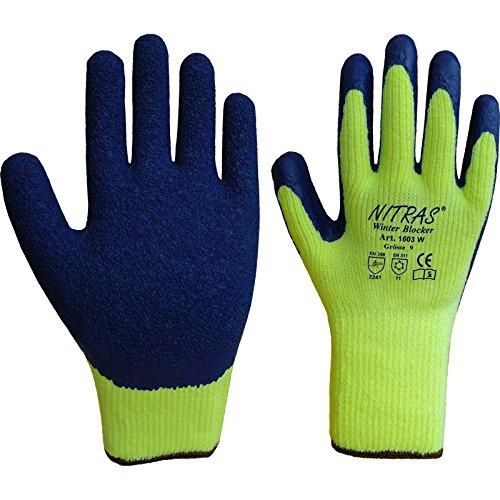 24 Paar NITRAS 1603W Winterhandschuh Winter Blocker, gelb/blau, Thermo , Gr.: 10