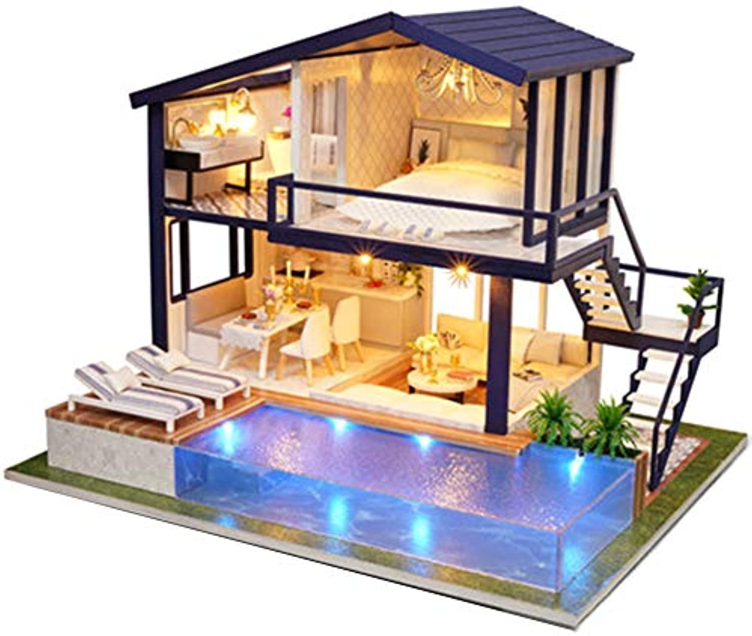 Gracorgzjs Wooden Time Apartment DIY Miniature Dollhouse Model with Music Assembly Toys