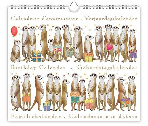 Rustige verjaardagskalender - Meerkats Design - Prachtig reliëf met gouden en zilveren folie - Maat 225mm x 195mm