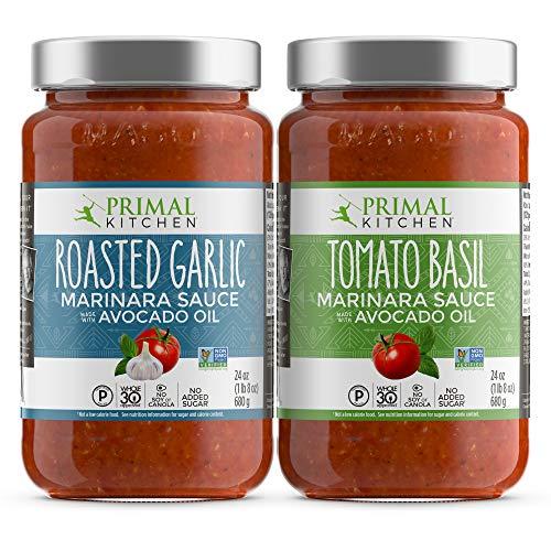 Primal Kitchen Marinara Tomato Sauce 2 Pack, Whole 30 Approved - 1 Tomato Basil & 1 Roasted Garlic