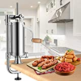 Goplus 2.5 Lb/1.5L Vertical Sausage Stuffer Maker Stainless Steel Meat Filler, with 4 Sizes of...