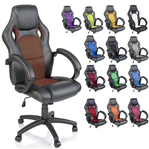 TRESKO Silla de oficina Racing silla de escritorio ordenador giratoria, silla Gaming ergonómica, pistón de gas certificado por SGS (Negro/Marrón dorado)